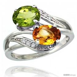 14k White Gold ( 8x6 mm ) Double Stone Engagement Citrine & Peridot Ring w/ 0.07 Carat Brilliant Cut Diamonds & 2.34 Carats
