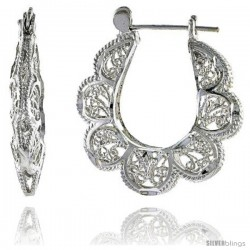 "Sterling Silver 1 3/16"" (30 mm) tall Puffed U-shaped Filigree Earrings, w/ Snap-down Lock"