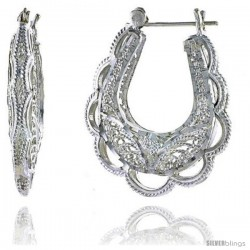 "Sterling Silver 1 5/16"" (34 mm) tall Puffed U-shaped Filigree Earrings, w/ Snap-down Lock"