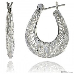 "Sterling Silver 1 3/16"" (30 mm) tall Puffed U-shaped Filigree Earrings, w/ Snap-down Lock -Style Fe136"