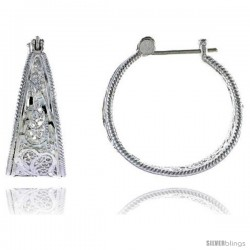 "Sterling Silver 1 1/16"" (27 mm) tall Filigree Hoop Earrings, w/ Snap-down Lock"