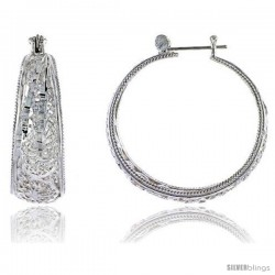 "Sterling Silver 1 1/2"" (38 mm) tall Filigree Hoop Earrings, w/ Snap-down Lock"