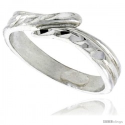 Sterling Silver Freeform Ring Polished finish 3/16 in wide