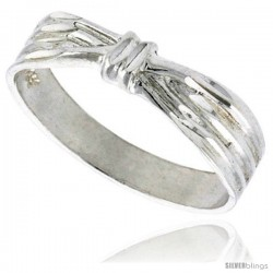 Sterling Silver Ribbon Ring Polished finish 3/16 in wide