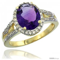 14k Yellow Gold Ladies Natural Amethyst Ring oval 10x8 Stone Diamond Accent