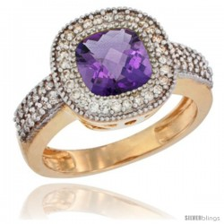 14k Yellow Gold Ladies Natural Amethyst Ring Cushion-cut 3.5 ct. 7x7 Stone Diamond Accent