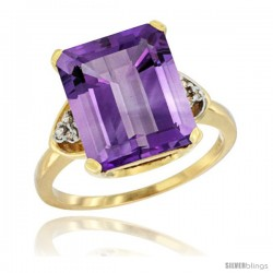 14k Yellow Gold Ladies Natural Amethyst Ring Emerald-shape 12x10 Stone Diamond Accent