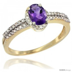 14k Yellow Gold Ladies Natural Amethyst Ring oval 6x4 Stone Diamond Accent -Style Cy401178