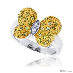 Sterling Silver & Rhodium Plated Butterfly Ring, w/ Tiny High Quality White & Citrine CZ's, 9/16 (14 mm) wide