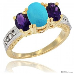 14k Yellow Gold Ladies Oval Natural Turquoise 3-Stone Ring with Amethyst Sides Diamond Accent