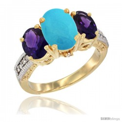 14K Yellow Gold Ladies 3-Stone Oval Natural Turquoise Ring with Amethyst Sides Diamond Accent