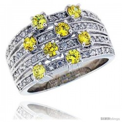 Sterling Silver & Rhodium Plated Band, w/ 3mm High Quality Citrine CZ's, 1/2 (13 mm) wide