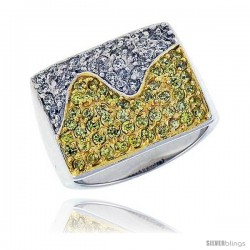 Sterling Silver & Rhodium Plated Square Band, w/ Tiny High Quality White & Citrine CZ's, 9/16 (15 mm) wide
