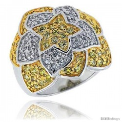 "Sterling Silver & Rhodium Plated Floral Band, w/ Tiny High Quality White & Citrine CZ's, 11/16"" (17 mm) wide"