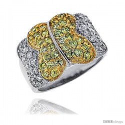 "Sterling Silver & Rhodium Plated Butterfly Band, w/ Tiny High Quality White & Citrine CZ's, 1/2"" (13 mm) wide"