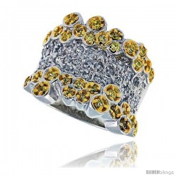 "Sterling Silver & Rhodium Plated Bubbles Band, w/ Tiny High Quality White & Citrine CZ's, 5/8"" (16 mm) wide"