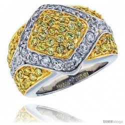 "Sterling Silver & Rhodium Plated Diamond-shaped Dome Band, w/ 2mm High Quality White & Citrine CZ's, 11/16"" (17 mm) wide"