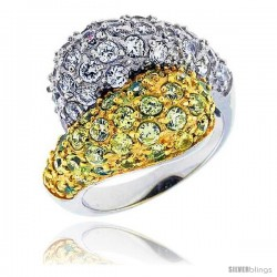 "Sterling Silver & Rhodium Plated Freeform Ring, w/ 2mm High Quality White & Citrine CZ's, 11/16"" (17 mm) wide"