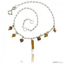 Sterling Silver Anklet Natural Stone Brown Pearls Citrine Beads, adjustable 9 - 10 in