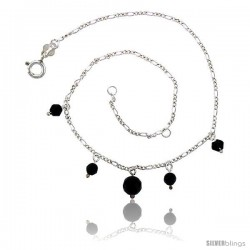 Sterling Silver Anklet Natural Stone Onyx Beads, adjustable 9 - 10 in