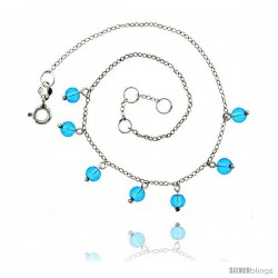 Sterling Silver Anklet Natural Stone Blue Topaz Beads, adjustable 9 - 10 in