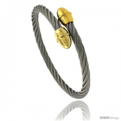 Stainless Steel Cable Golf Bracelet 2 Tone 7 In Style Bss714