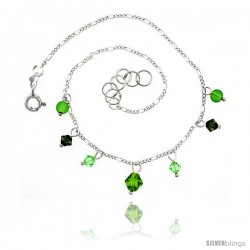 Sterling Silver Anklet Natural Stone Peridot Beads Green Bicone Crystals, adjustable 9 - 10 in