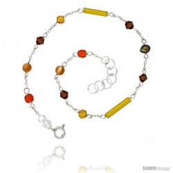 Sterling Silver Anklet Natural Gold Pearl Citrine Carnelian Jade Beads Bicone Crystals, adjustable 9 - 10 in