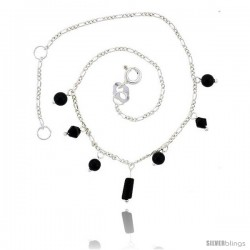 Sterling Silver Anklet Natural Stone Onyx Beads, adjustable 9 - 10 in -Style Sa15
