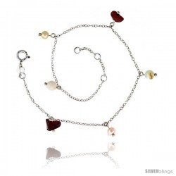 Sterling Silver Anklet Natural Stone Jasper Pearls & Jade Beads, adjustable 9 - 10 in
