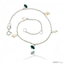 Sterling Silver Anklet Natural Stone Turquoise Pearls & Jade Beads, adjustable 9 - 10 in