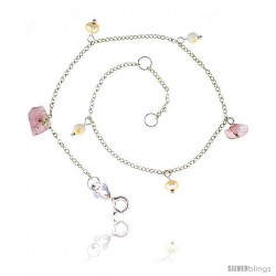 Sterling Silver Anklet Natural Stone Rose Quartz Pearls Jade Beads, adjustable 9 - 10 in