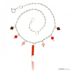 Sterling Silver Anklet Natural Carnelian & Orange and Pink Crystals, adjustable 9 - 10 in