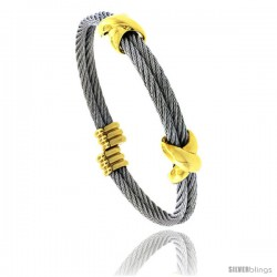 Stainless Steel Cable Golf Bracelet 2-Tone, 7 in -Style Bss715