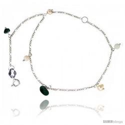 Sterling Silver Ankle Bracelet Anklet Natural Pearls Jade Beads Turquoise Nuggets, adjustable 9 - 10 in