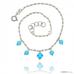 Sterling Silver Ankle Bracelet Anklet Blue Natural Blue Topaz Beads Bicone Crystal, adjustable 9 - 10 in