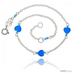 Sterling Silver Ankle Bracelet Anklet Natural Blue Topaz Heart Beads, adjustable 9 - 10 in