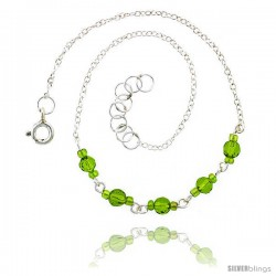 Sterling Silver Ankle Bracelet Anklet Natural Faceted Peridot and Glass Seed Beads, adjustable 9 - 10 in