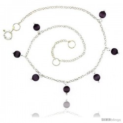 Sterling Silver Anklet Natural Stone Amethyst Beads, adjustable 9 - 10 in