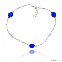 Sterling Silver Ankle Bracelet Anklet Natural Blue Faceted Beads Blue Topaz Beads, adjustable 9 - 10 in