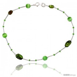 Sterling Silver Ankle Bracelet Anklet Natural Peridot Stone Nuggets Green Cateye Beads, adjustable 9 - 10 in