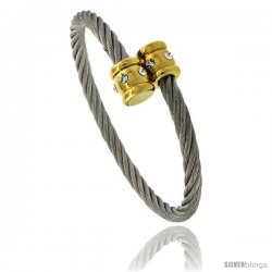 Stainless Steel Cable Golf Bracelet 2-Tone w/ Crystals, 7 in