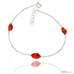 Sterling Silver Ankle Bracelet Anklet Natural Carnelian Stone Nugget Beads, adjustable 9 - 10 in