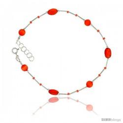Sterling Silver Ankle Bracelet Anklet Natural Carnelian Nuggets Orange Cateye & Glass Seed Beads, adjustable 9 - 10 in