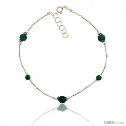 Sterling Silver Ankle Bracelet Anklet, w/ Moss Agate Beads, adjustable 9 - 10 in