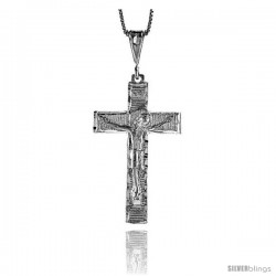 Sterling Silver Crucifix Pendant, 1 5/8 in