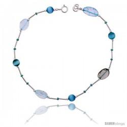 Sterling Silver Ankle Bracelet Anklet, w/ Blue-colored Crystals & Oval-shaped Aquamarine Stones, adjustable 9 - 10 in