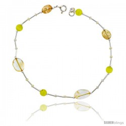 Sterling Silver Ankle Bracelet Anklet Natural Citrine Nuggets Lemon Cateye & Glass Seed Beads, adjustable 9 - 10 in