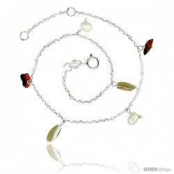Sterling Silver Ankle Bracelet Anklet Natural Carnelian Nuggets Pearls mothr-of-pearls, adjustable 9 - 10 in