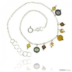 Sterling Silver Ankle Bracelet Anklet Natural Faceted Citrine Bead Brown Pearls Bicone Crystals, adjustable 9 - 10 in